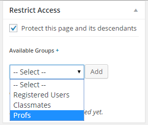 Groups in dropdown listq